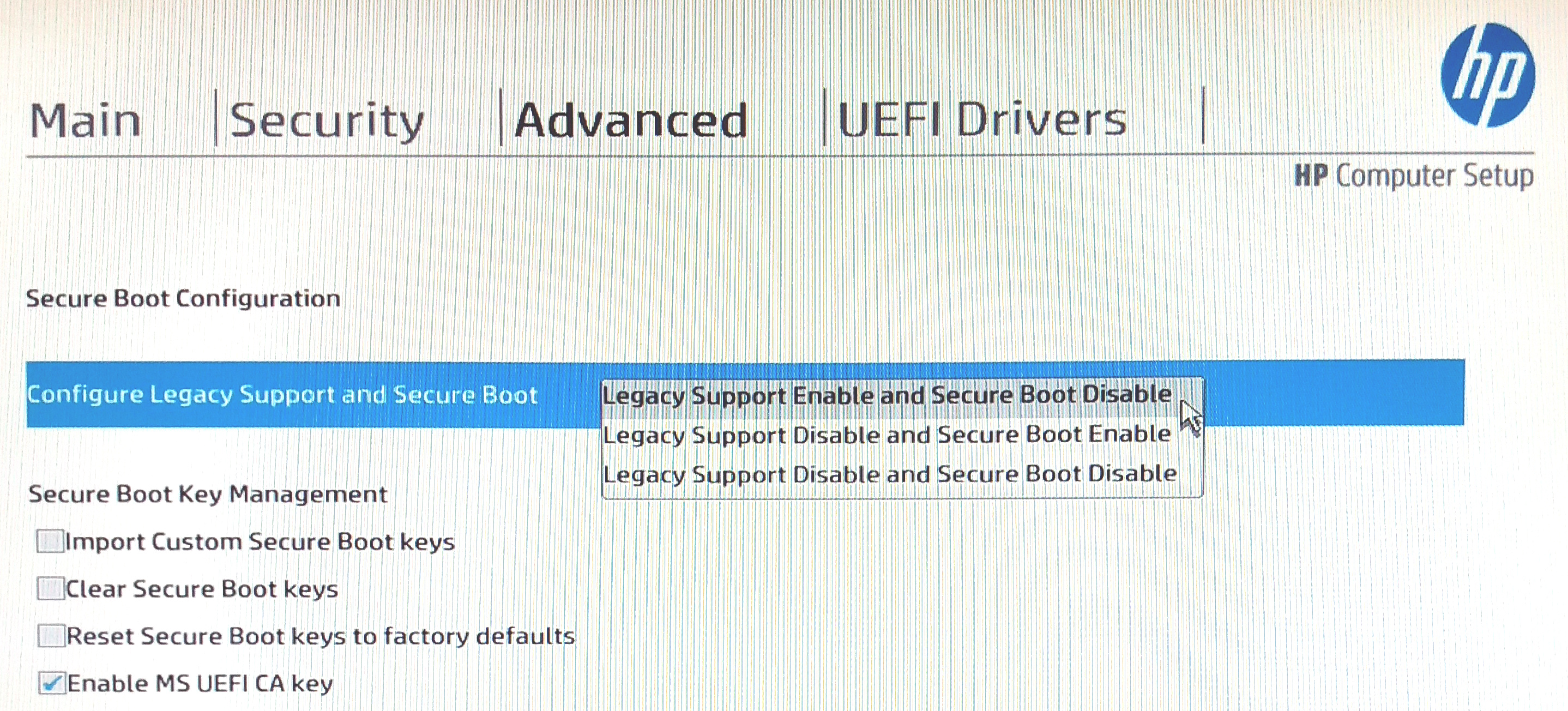 BIOS setup screen showing Secure Boot options