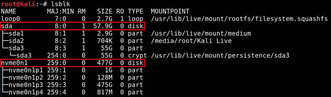 lsblk command shows storage devices connected to the target system