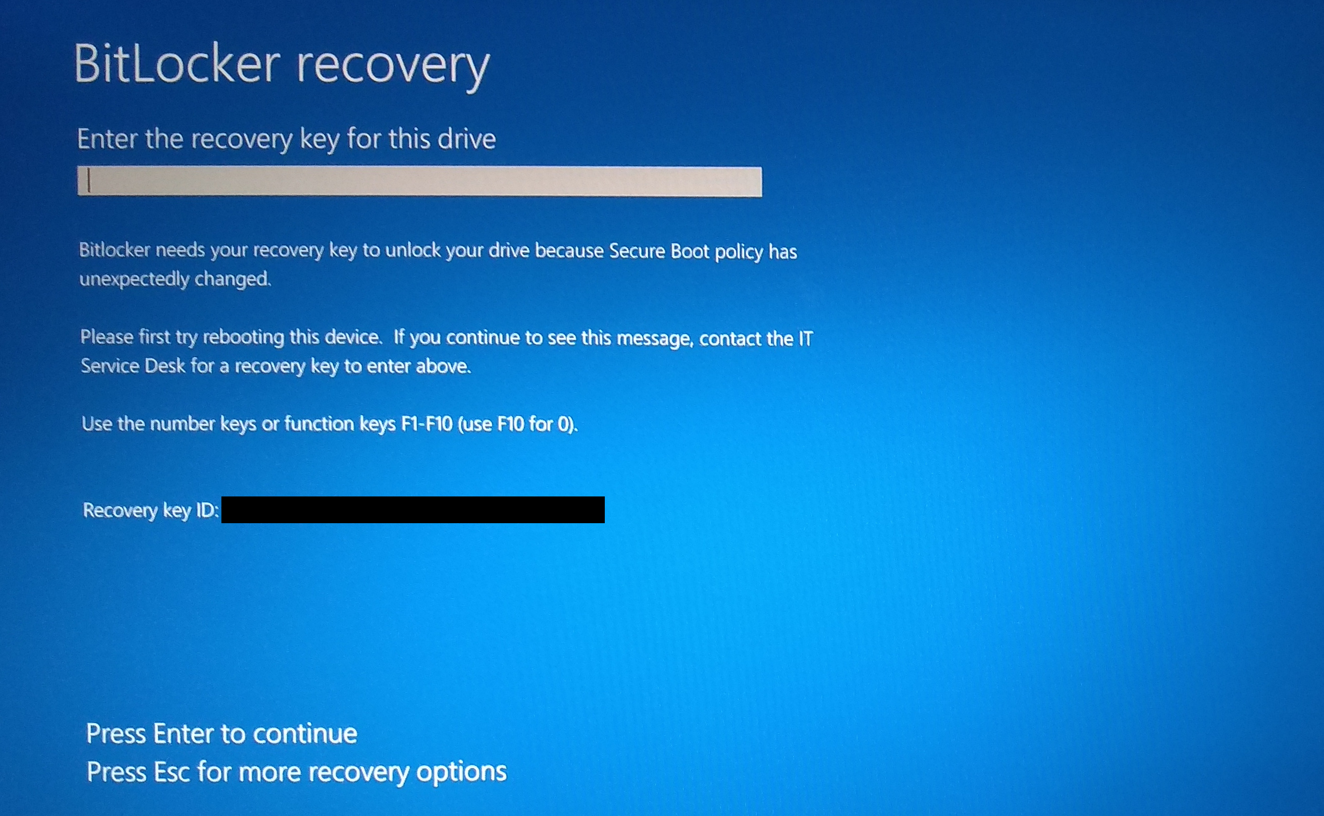 BitLocker prompts for the recovery key after re-enabling Secure Boot