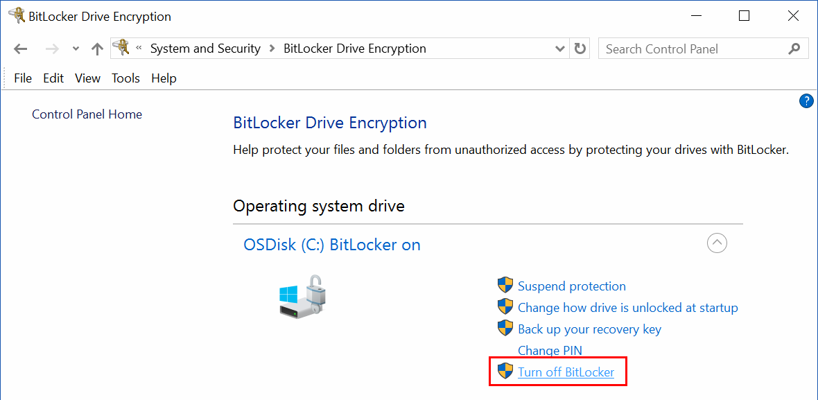 """Turn off BitLocker"" option in the Control Panel"